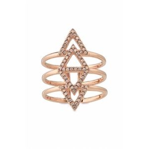 Rose Gold Pavé Spear Adjustable Ring